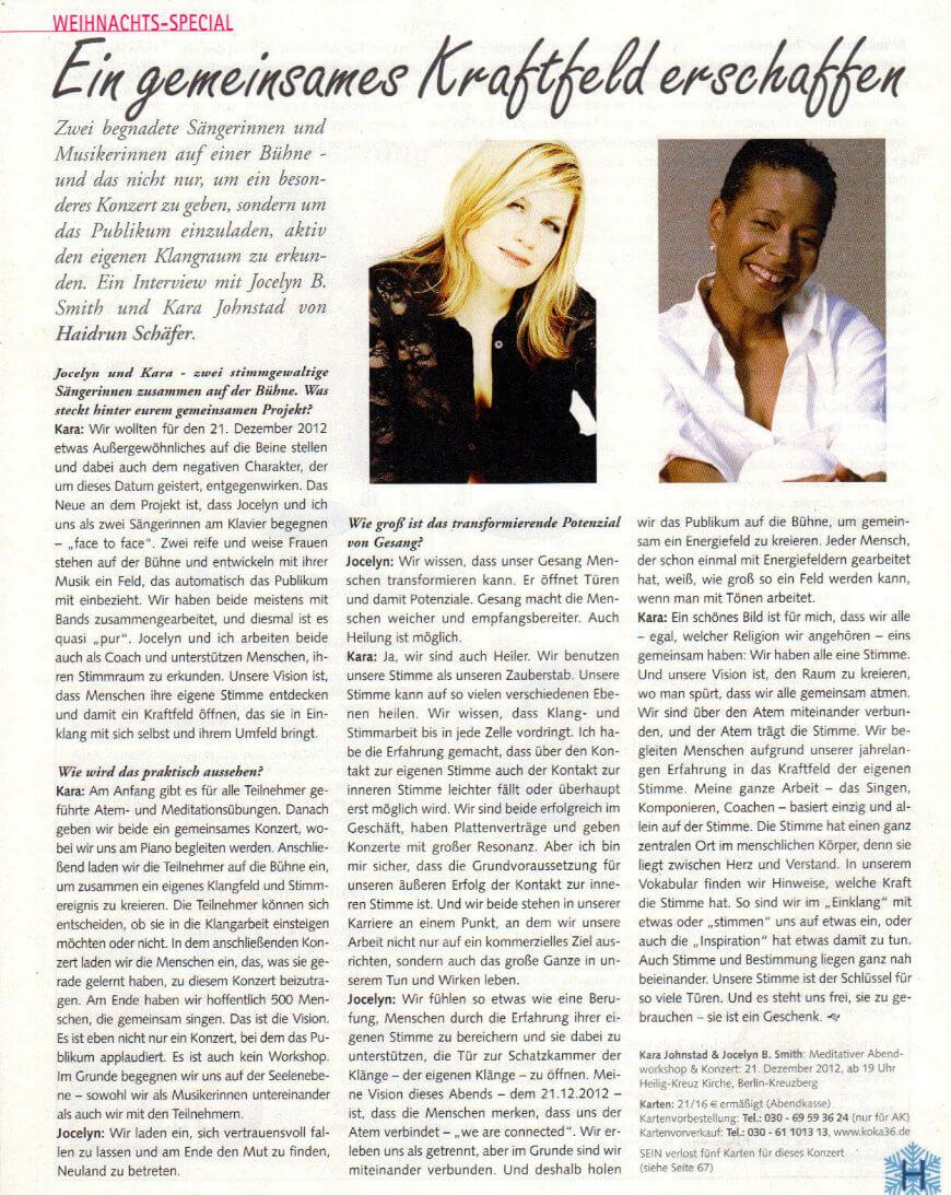 Ein gemeinsames Kraftfeld erschaffen: Interview von Haidrun Schäfer mit den Sängerinnen Jocelyn B. Smith und Kara Johnstad  im SEIN Magazin